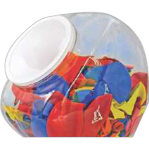 Plastic jar with lid.