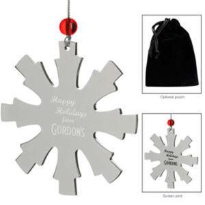 Silver snowflake ornament.