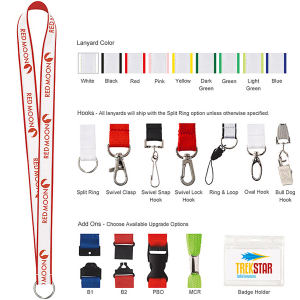 Polyester lanyard with ribbon.