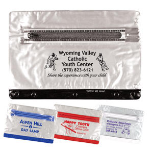 Clear vinyl zippered packet,