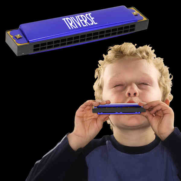 Blue harmonica made of