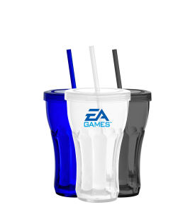 Plastic mug with straw,