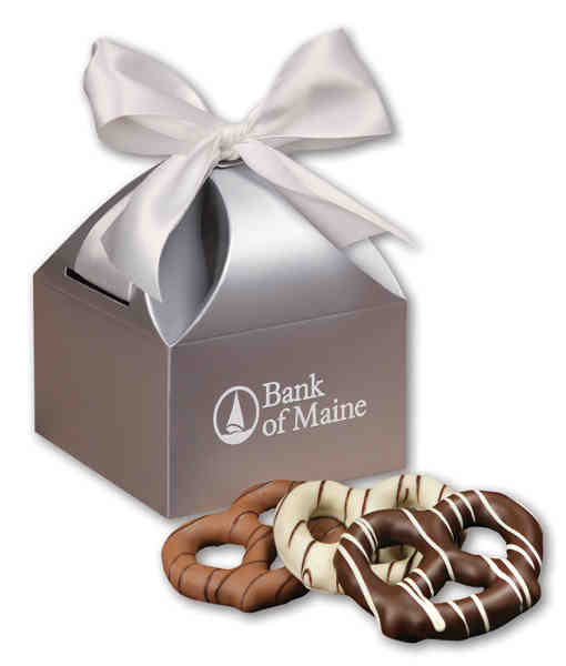 silver gift box filled