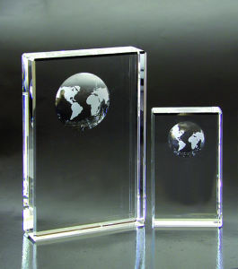 World optical crystal award/trophy.