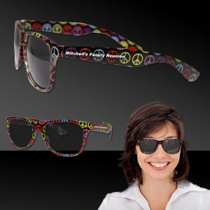 Retro-style sunglasses with peace