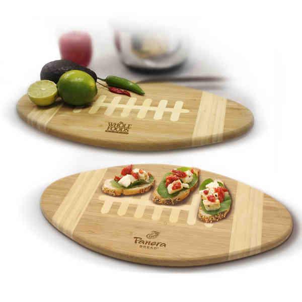 Bamboo football cutting board.