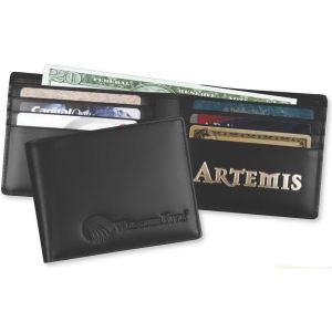 Leather billfold men's wallet.