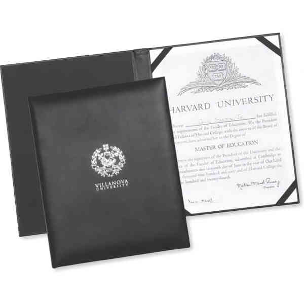 Black leather certificate holder