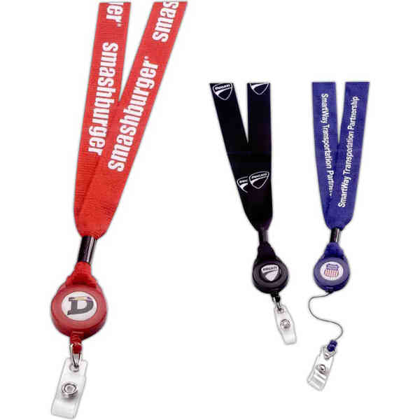 Polyester lanyard with retractable