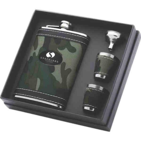 Camouflage Flask Gift Set