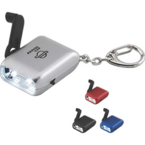 Hand crank flashlight keychain.