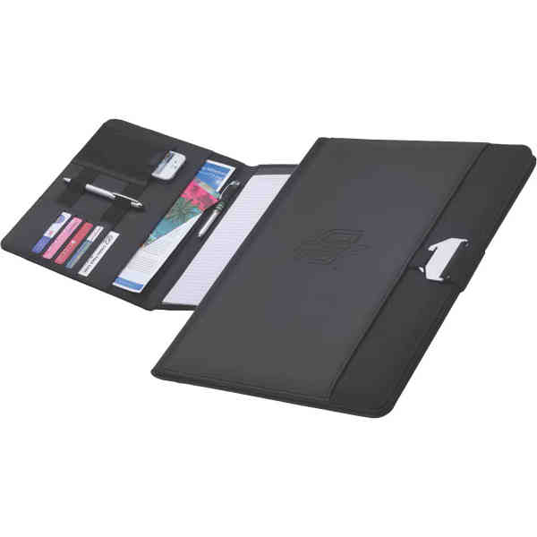 Simulated leather accent padfolio