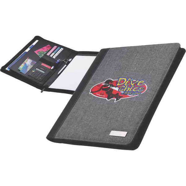 Zippered portfolio with accents.