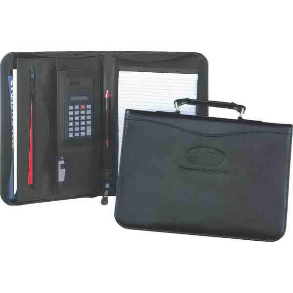 Leather carry portfolio with