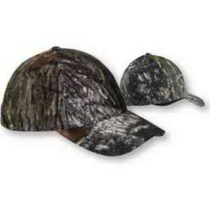 Six-panel camouflage cap.