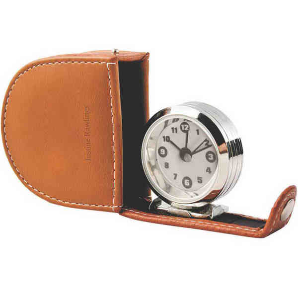 Travel alarm clock, brown