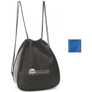 Drawstring backpack with expandable