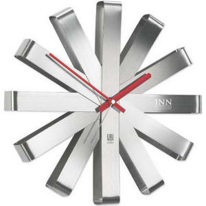 Stainless steel clock.