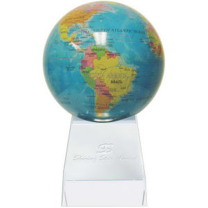 Rotating globe on base.
