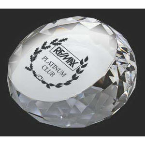 Crystal faceted paperweight.