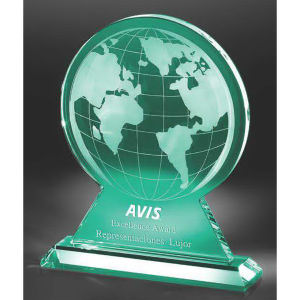 Jade glass globe award.