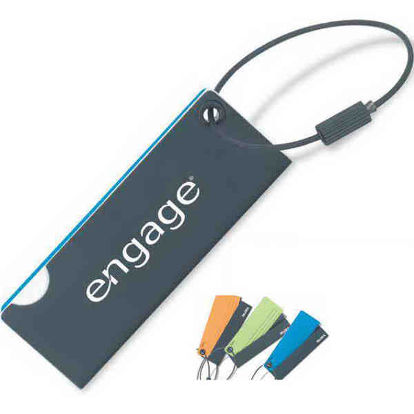 Flip-open luggage tag.