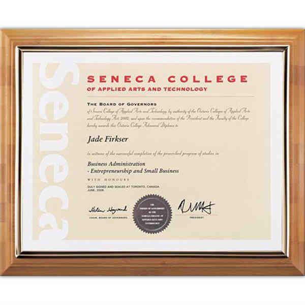 Bamboo certificate holder. Blank.