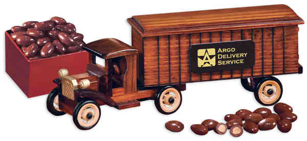 1930-era tractor-trailer truck packed