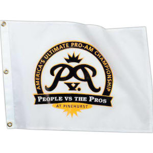 Screen printed flags. Available