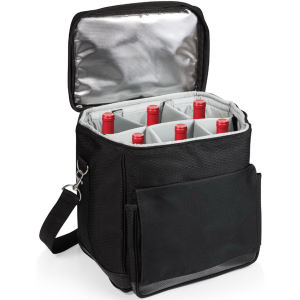 Insulated, six-bottle wine tote