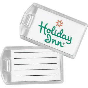 Compact acrylic luggage tag.