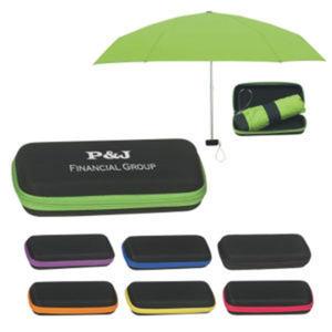 Folding travel umbrella with