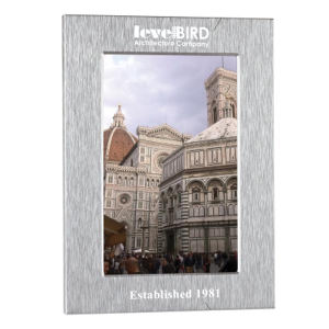 Aluminum photo frame, holds