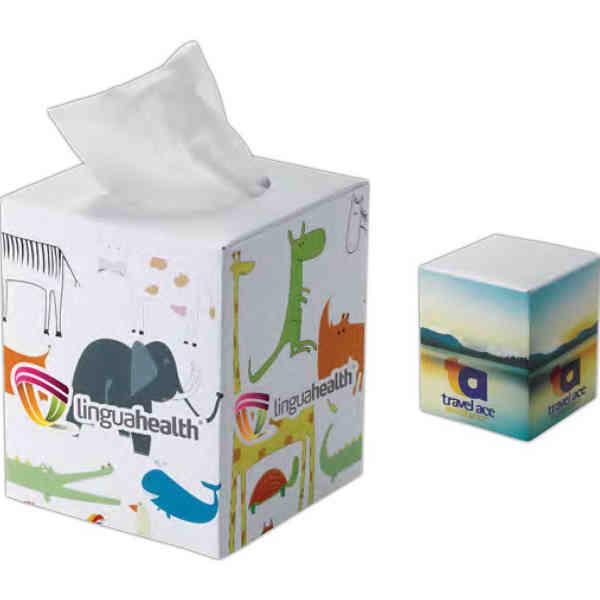 Cube tissue box. White