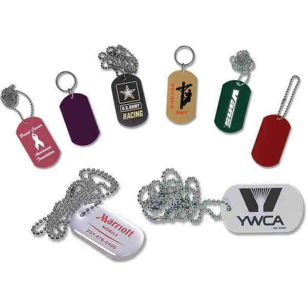 Silver dog tag key