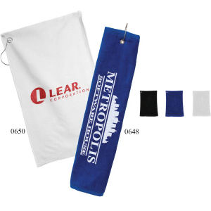 Tri-fold golf towel.