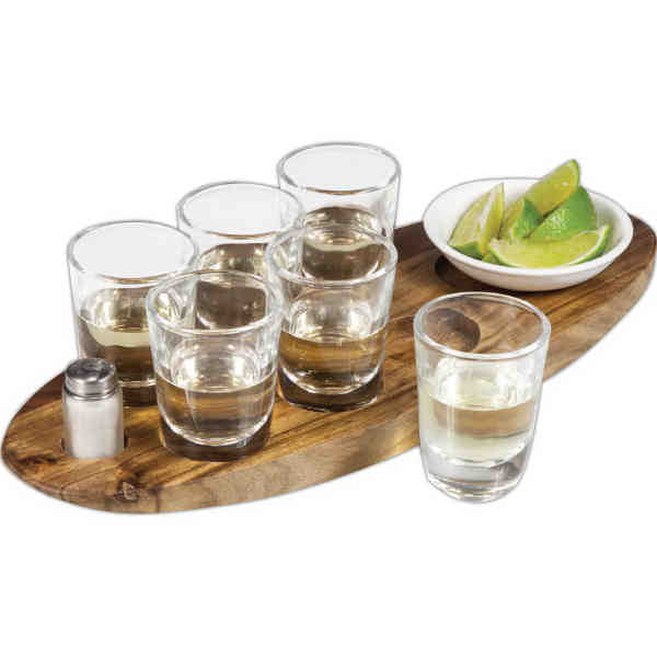 Wooden shot-serving tray.