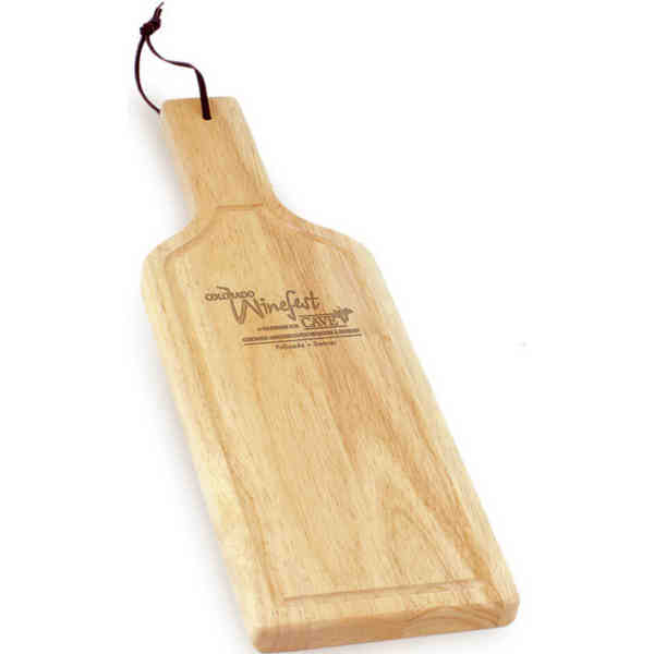Wine bottle-shaped cutting board.