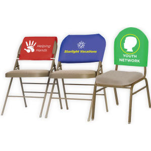 Fitted advertising chair headrest