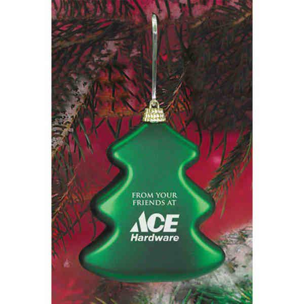 Green satin tree ornament.