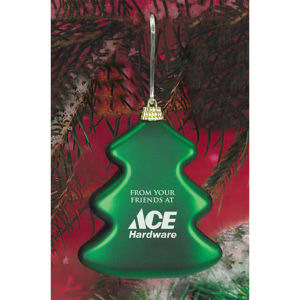 Green satin tree ornament.