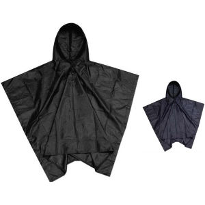 Reusable poncho with pouch