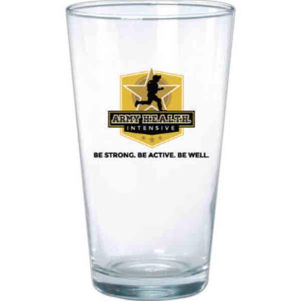 Clear pint glass with