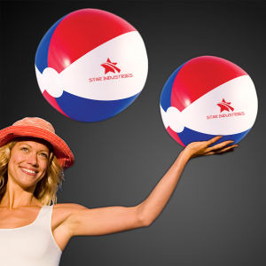 Inflatable patriotic beach ball.