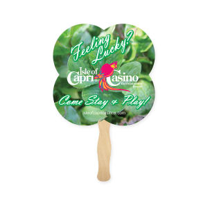 Clover shaped hand fan.