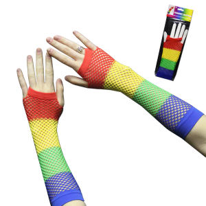 Rainbow colored fishnet fingerless
