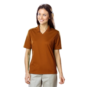 LADIES SOLID WICKING V-NECK