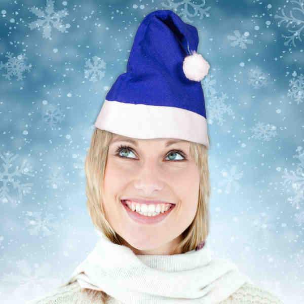 Blue Santa Claus hat