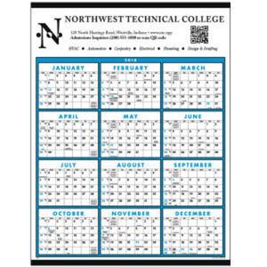 Span-a-year non-laminated calendar.
