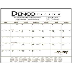 Large desk calendar includes